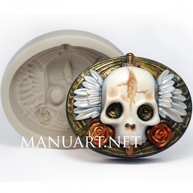 Silicone mold - Skull with wings and roses 2D - for making soaps, candles and figurines