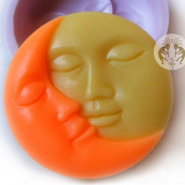 Silicone mold - Sun and moon - for making soaps, candles and figurines