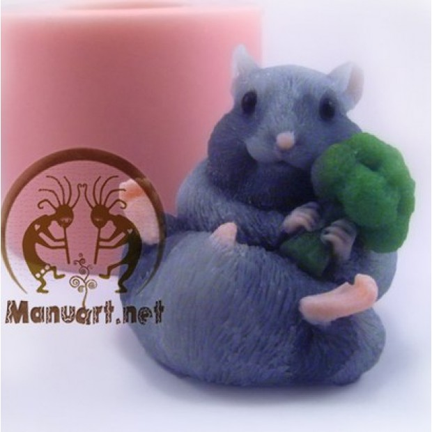 Silicone mold - Hamster with broccoli 3D - for making soaps, candles and figurines
