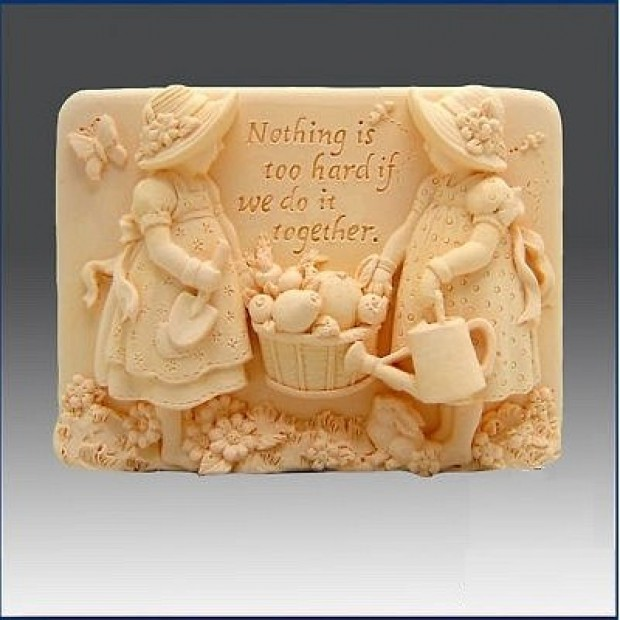 Silicone mold - Sisters  - for making soaps, candles and figurines