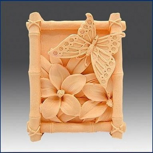 Silicone mold - Butterfly in bamboo frame - for making soaps, candles and figurines