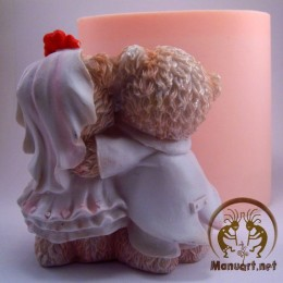 Silicone mold - Bears marry 3D - for making soaps, candles and figurines