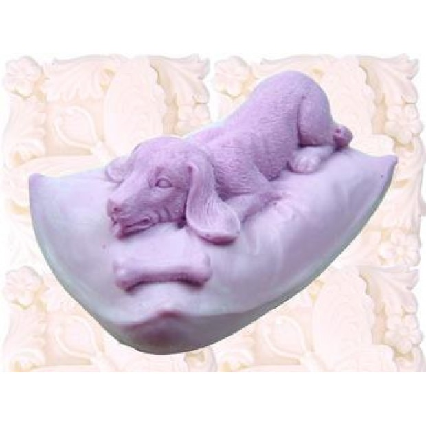 Silicone mold - Doggie on the pillow - for making soaps, candles and figurines