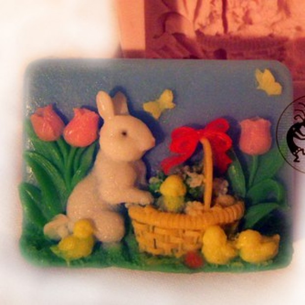 Silicone mold - Rabbit with chickens - for making soaps, candles and figurines