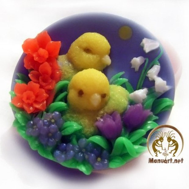 Silicone mold - Chickens in the flowers - for making soaps, candles and figurines