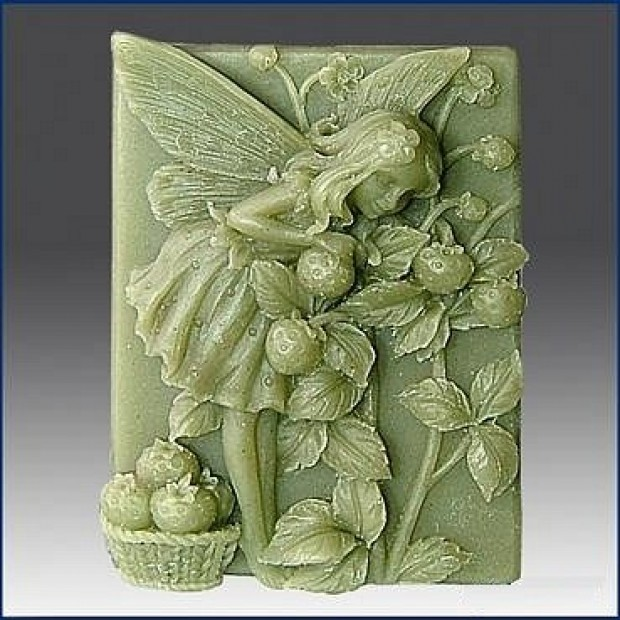 Silicone mold - Fairy with strawberries - for making soaps, candles and figurines
