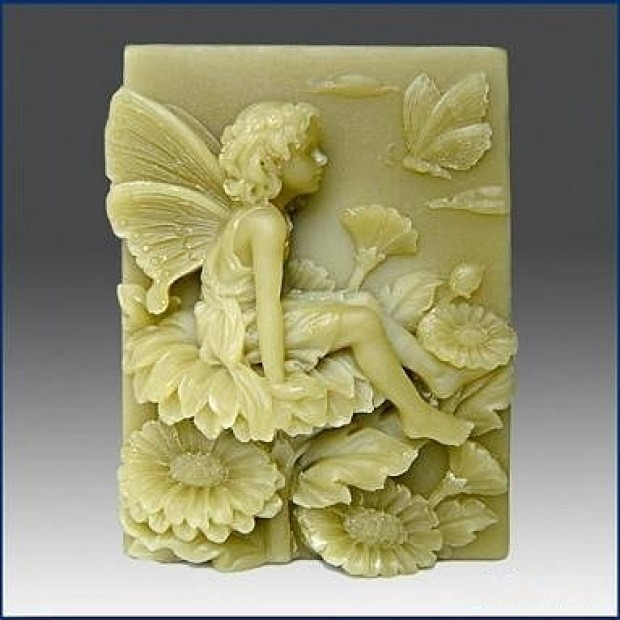 Silicone mold - Fairy on a flower with a butterfly - for making soaps, candles and figurines