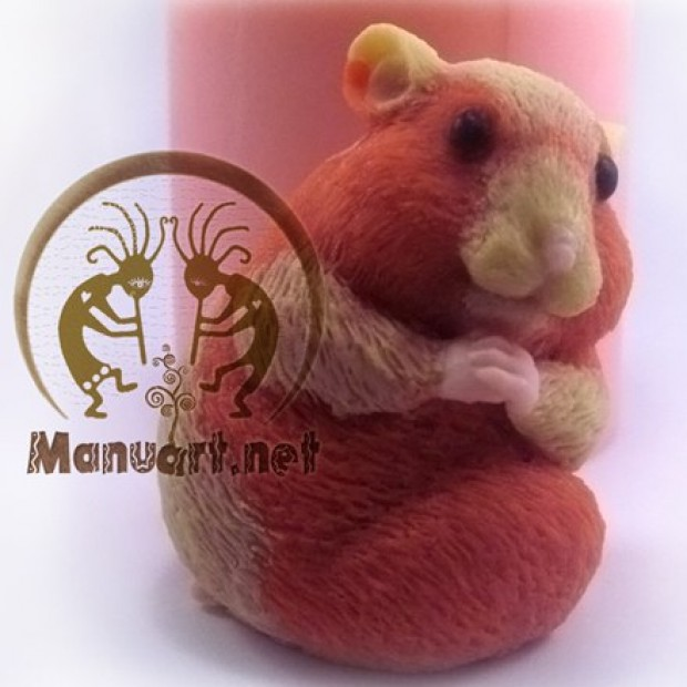 Silicone mold - Hamster turned around 3D - for making soaps, candles and figurines