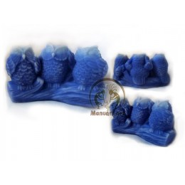 Silicone mold - Three owls 3D - for making soaps, candles and figurines