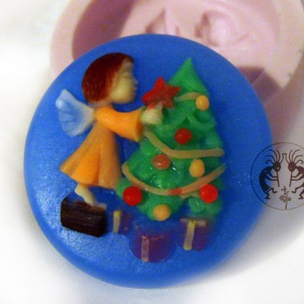Silicone mold - Angel dresses up Christmas tree - for making soaps, candles and figurines