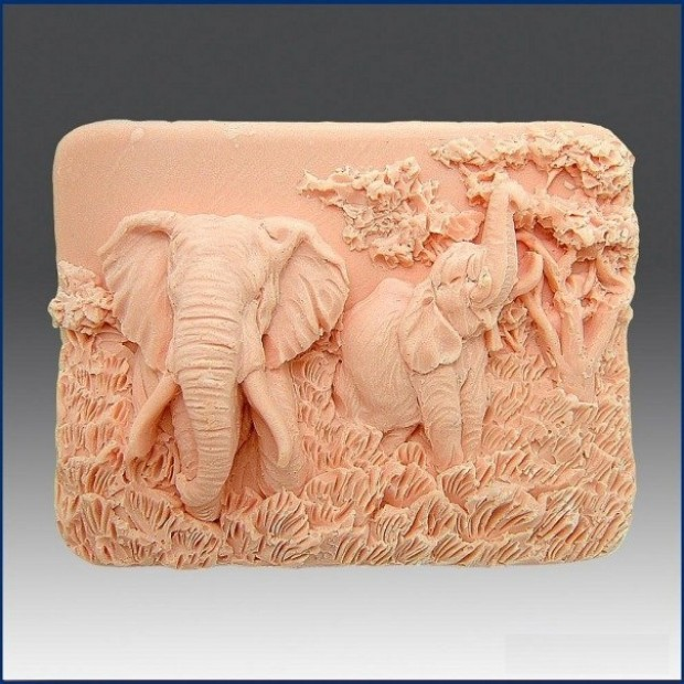 Silicone mold - Charming elephants - for making soaps, candles and figurines