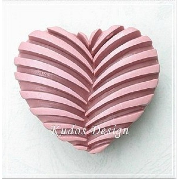 Silicone mold - Fluted heart - for making soaps, candles and figurines