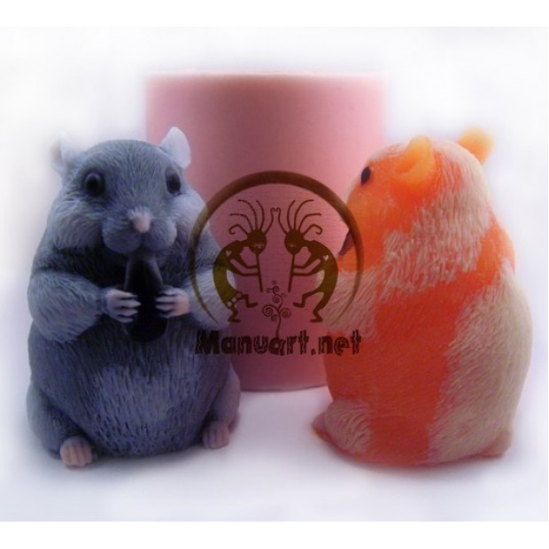 Silicone mold - Hamster with sunflower Seed 3D - for making soaps, candles and figurines