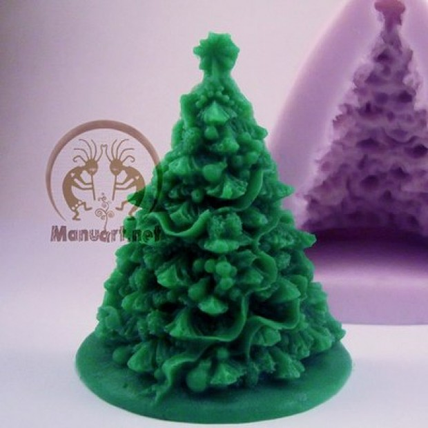 Silicone mold - Christmas tree 2D - for making soaps, candles and figurines