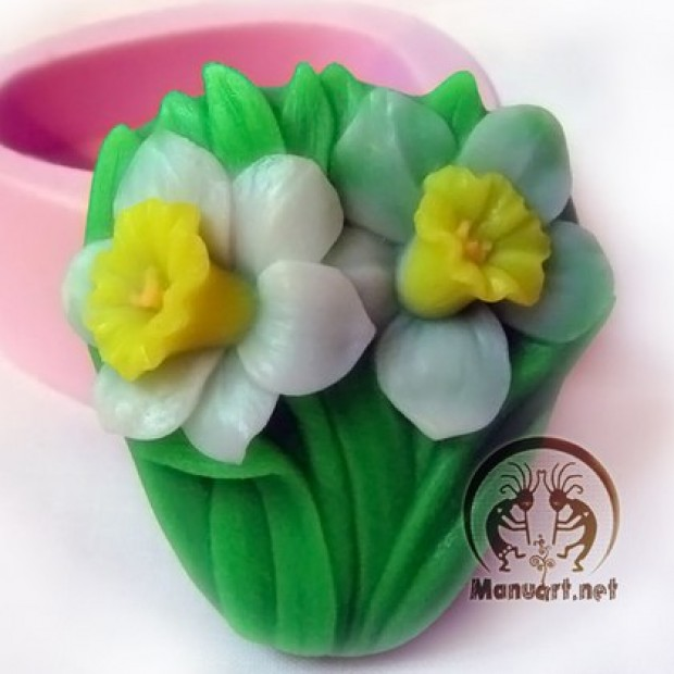Silicone mold - Daffodils - for making soaps, candles and figurines