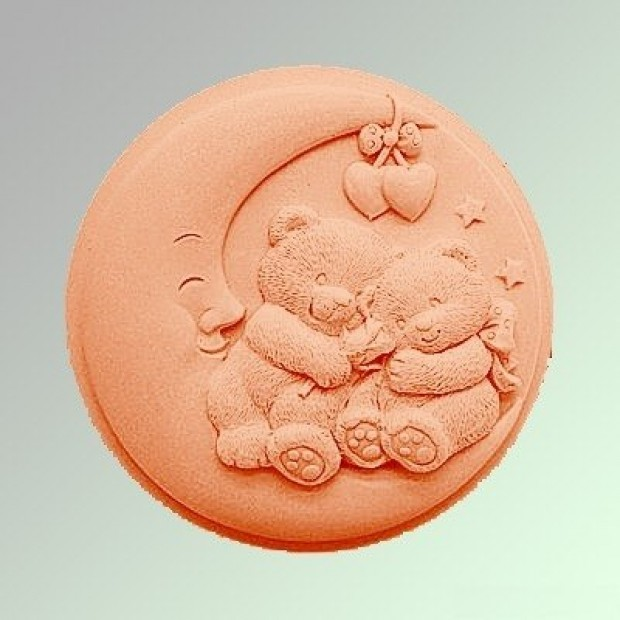 Silicone mold - Bears on the Moon - for making soaps, candles and figurines