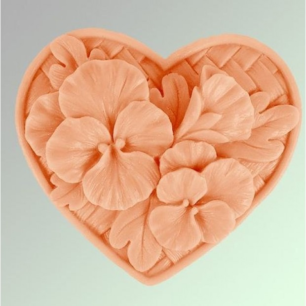 Silicone mold - Pansies in the heart - for making soaps, candles and figurines