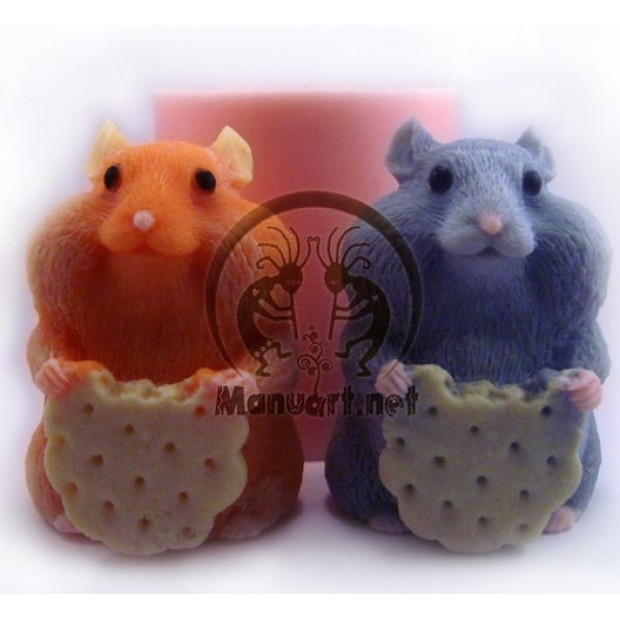 Silicone mold - Hamster with a cookie 3D - for making soaps, candles and figurines