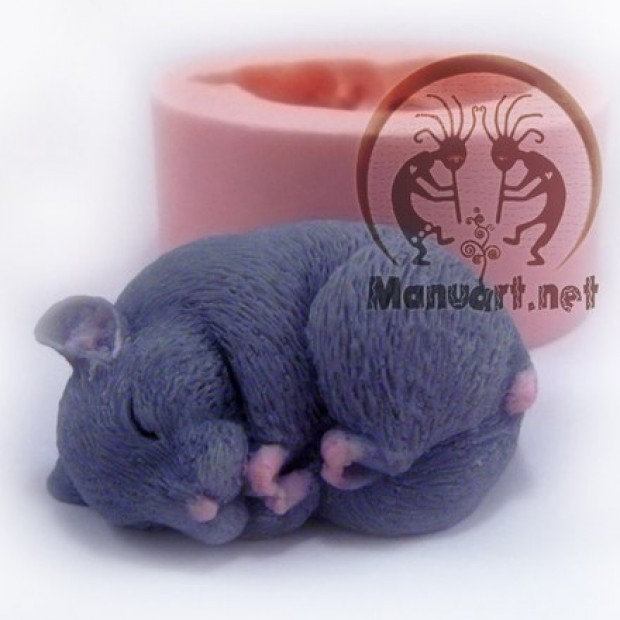 Silicone mold - Hamster sleeping 3D - for making soaps, candles and figurines