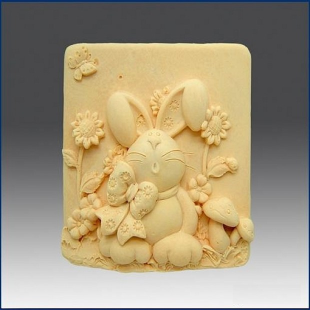 Silicone mold - Bunny in sunflowers - for making soaps, candles and figurines