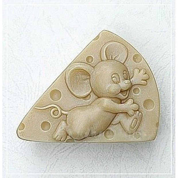 Silicone mold - The Mouse on the cheese - for making soaps, candles and figurines