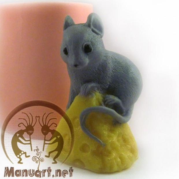 Silicone mold - Mouse on cheese sits - for making soaps, candles and figurines
