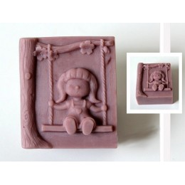 Silicone mold - Girl on a swing - for making soaps, candles and figurines