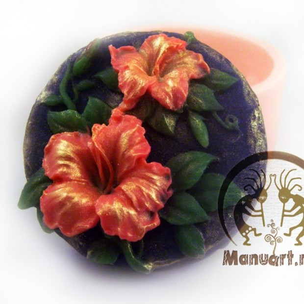 Silicone mold - Hibiscus round  - for making soaps, candles and figurines