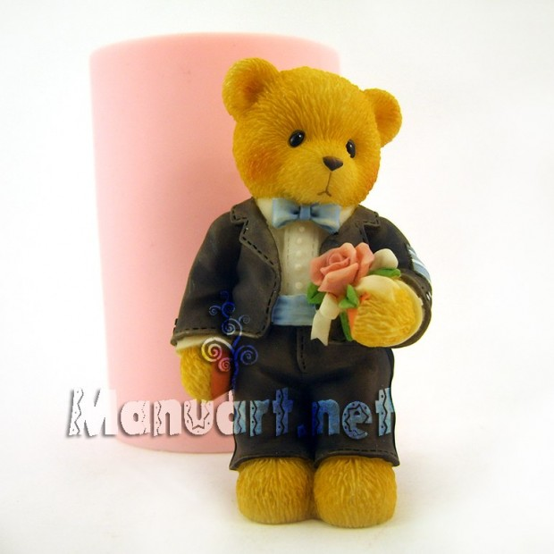 Silicone mold - Bear groom - for making soaps, candles and figurines