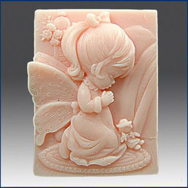 Silicone mold - Girl angel 2D - for making soaps, candles and figurines