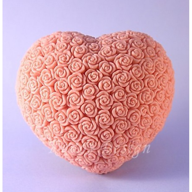 Silicone mold - Heart of roses 2D - for making soaps, candles and figurines