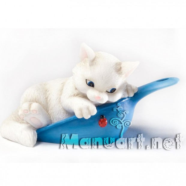 Silicone mold - Kitten in a scoop 3D - for making soaps, candles and figurines