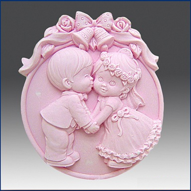 Silicone mold - Wedding kiss 2D - for making soaps, candles and figurines