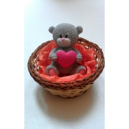 Silicone mold - Teddy bear with heart 3D - for making soaps, candles and figurines