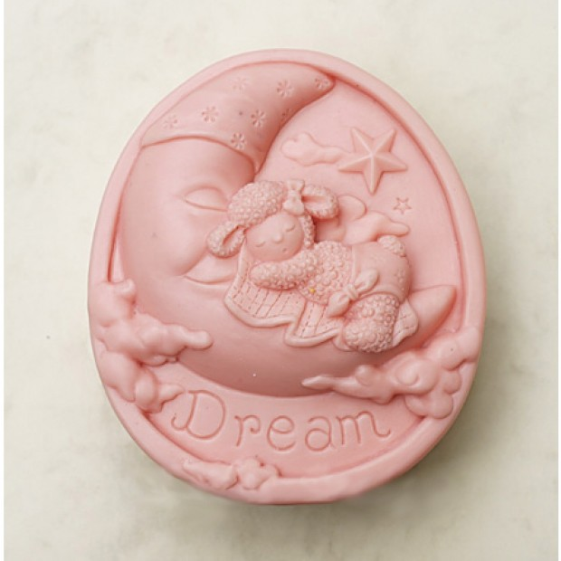 Silicone mold - Dream of lamb on the moon - for making soaps, candles and figurines