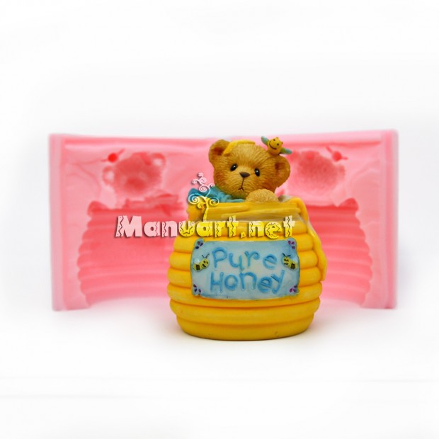 Silicone mold - Bear in a honey keg 3D - for making soaps, candles and figurines