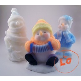Silicone mold - Snowman with an accordion - for making soaps, candles and figurines