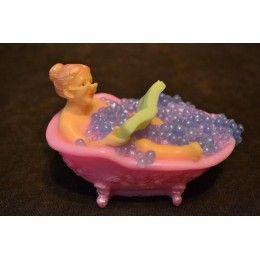 Silicone mold - Charming granny in a bath reading a book 3D - for making soaps, candles and figurines