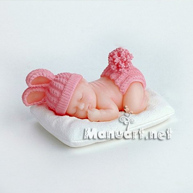 Silicone mold - Baby dressed as Bunny 3D - for making soaps, candles and figurines