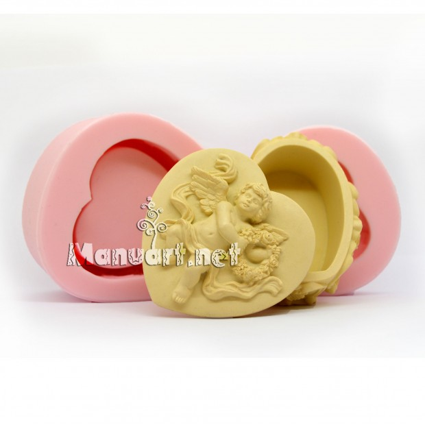 Silicone mold - Trinket box heart-shaped with angel - for making soaps, candles and figurines