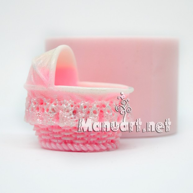 Silicone mold - Baby carriage 3D - for making soaps, candles and figurines