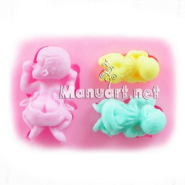 Silicone mold - Mold 3 baby - for making soaps, candles and figurines