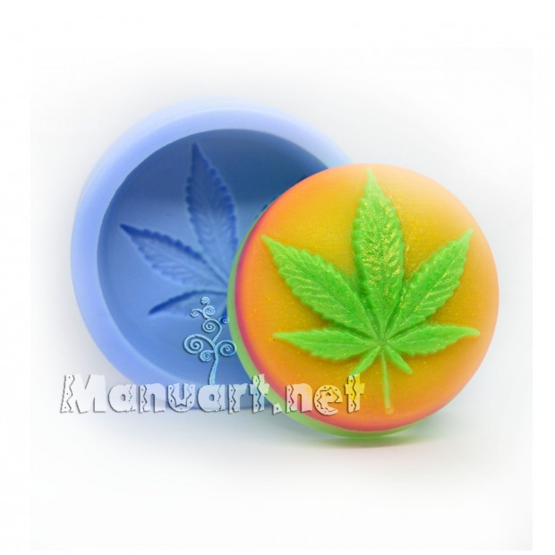 Silicone mold - Cannabis 2D - for making soaps, candles and figurines