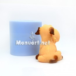 Silicone mold - A puppy sitting 3D - for making soaps, candles and figurines