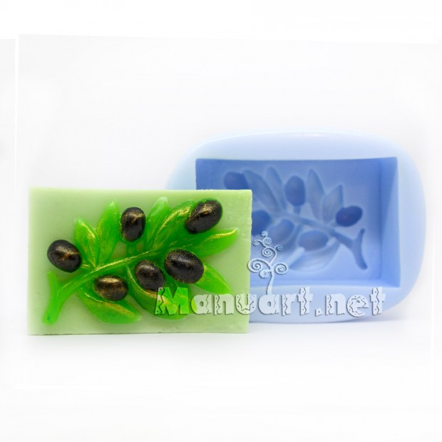 Silicone mold - Olive branch - for making soaps, candles and figurines