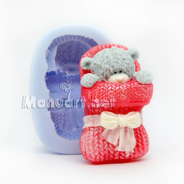 Silicone mold - Sleeping Teddy in a mitten - for making soaps, candles and figurines