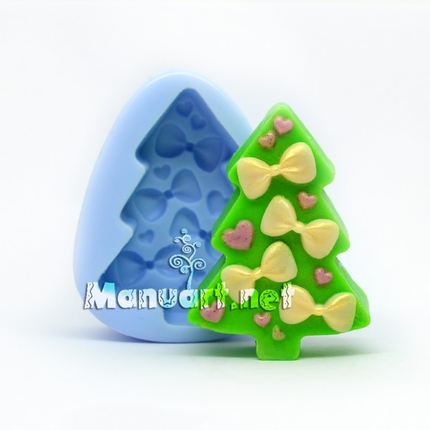 Silicone mold - Christmas Tree with bows 2D - for making soaps, candles and figurines