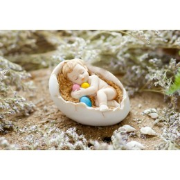 Silicone mold - Sleeping baby in eggshell - for making soaps, candles and figurines