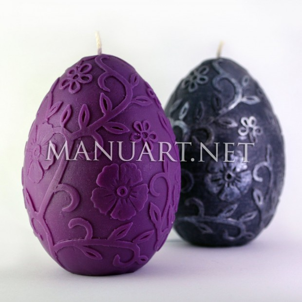 Silicone mold - Big egg with flowers ornament - for making soaps, candles and figurines