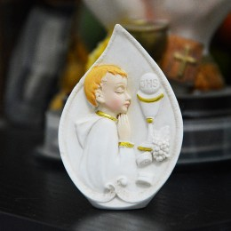 First Communion praying boy